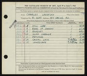 Entry card for Lakofsky, Charles  for the 1942 May Show.