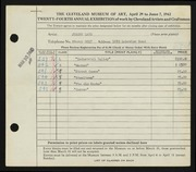 Entry card for Land, Jerome for the 1942 May Show.