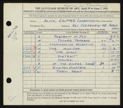 Entry card for Lawrence, Alice Lauffer for the 1942 May Show.