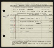 Entry card for Lensner, Victor Eugene for the 1942 May Show.