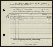 Entry card for Lindgren, Kenneth Alfred for the 1942 May Show.