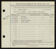 Entry card for Linnell, Peter for the 1942 May Show.