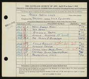 Entry card for Linsey, Martin  for the 1942 May Show.