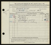 Entry card for Louie, Ernest S. for the 1942 May Show.