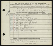 Entry card for MacCreary, Marjorie for the 1942 May Show.