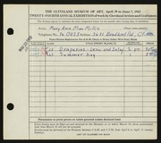 Entry card for MacMillin, Mary Ann for the 1942 May Show.