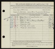 Entry card for McClean, Clara for the 1942 May Show.