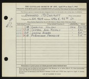 Entry card for McDermott, Bernard for the 1942 May Show.