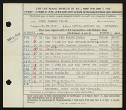 Entry card for Miller, Carol Hagaman for the 1942 May Show.