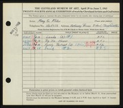 Entry card for Miller, Mary G. for the 1942 May Show.
