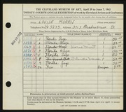 Entry card for Morris, Louise for the 1942 May Show.