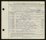 Entry card for Mosgo, Charles Francis for the 1942 May Show.