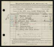 Entry card for Nepodal, Virginia for the 1942 May Show.