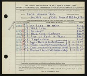 Entry card for Peck, Edith Hogen for the 1942 May Show.