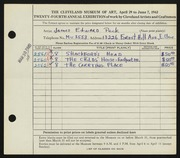 Entry card for Peck, James Edward for the 1942 May Show.