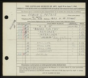 Entry card for Petrie, Erwin C. for the 1942 May Show.