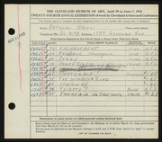 Entry card for Petti, Arthur T. for the 1942 May Show.