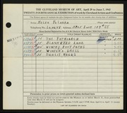 Entry card for Polanka, Helen for the 1942 May Show.