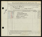 Entry card for Morrow, Barbara Price for the 1942 May Show.