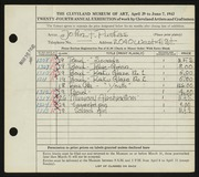 Entry card for Puskas, John F. for the 1942 May Show.