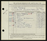 Entry card for Rosenberg, Yetta for the 1942 May Show.