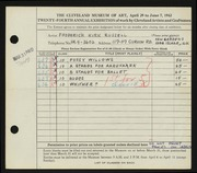 Entry card for Russell, Frederick K. for the 1942 May Show.