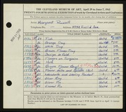 Entry card for Russell, Margaret for the 1942 May Show.