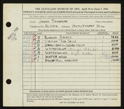 Entry card for Schoener, Jason for the 1942 May Show.