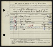 Entry card for Scrivens, Emilie for the 1942 May Show.