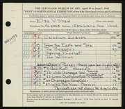 Entry card for Shaw, Elsa Vick for the 1942 May Show.
