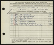 Entry card for Sietman, Herbert E., Jr. for the 1942 May Show.