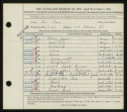Entry card for Simon, Ann for the 1942 May Show.