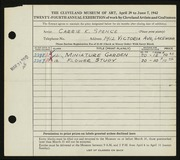 Entry card for Spence, Carrie for the 1942 May Show.