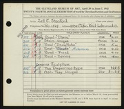 Entry card for Stanford, Zell C. for the 1942 May Show.
