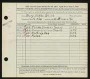 Entry card for Stitt, Mary McKee for the 1942 May Show.