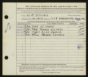 Entry card for Stokes, Herbert G. for the 1942 May Show.