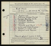 Entry card for Stoll, Rolf for the 1942 May Show.