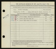 Entry card for Turobinski, Dorothy for the 1942 May Show.