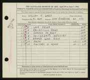 Entry card for Ward, William C. for the 1942 May Show.