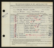 Entry card for Winter, Thelma Frazier for the 1942 May Show.