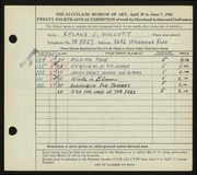 Entry card for Wolcott, Roland J. for the 1942 May Show.