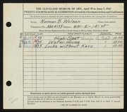 Entry card for Woleen, Norman B. for the 1942 May Show.