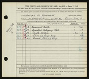 Entry card for Wooddell, Joseph M. for the 1942 May Show.