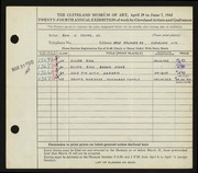 Entry card for Young, Don J., Jr. for the 1942 May Show.