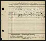 Entry card for Zerlin, Robert for the 1942 May Show.