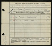 Entry card for Andree, Paul for the 1943 May Show.
