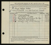 Entry card for Anliker, Roger William for the 1943 May Show.