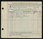 Entry card for Baltrukonis, Alvina for the 1943 May Show.