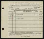 Entry card for Bartko, William for the 1943 May Show.