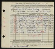 Entry card for Bates, Kenneth F. for the 1943 May Show.